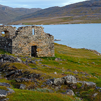 44. Grass-dominated vegetation in relation to the ruins of Hvalseys church from a Norse settlement in South Greenland (photo-copyright: Michael Møller Hansen)